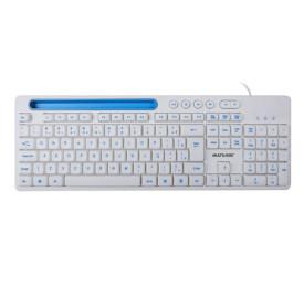 Teclado Multilaser Multimídia Office com Apoio para Smartphone TC263 Branco