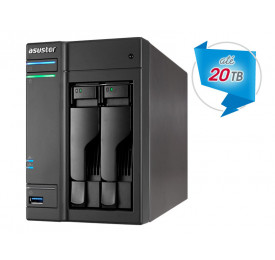NAS ASUSTOR AS6302T INTEL DUAL CORE J3355 2.0GHZ 2GB DDR3 TORRE 2 BAIAS