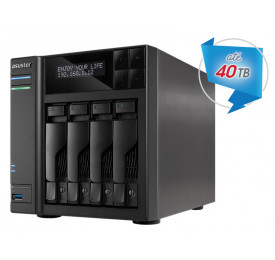 NAS ASUSTOR AS6404T INTEL DUAL CORE J3455 1,5GHZ 8GB DDR3 TORRE 4 BAIAS