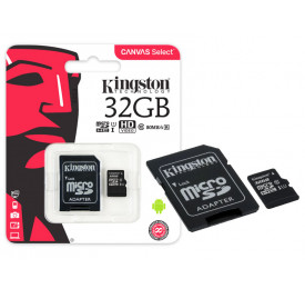 Cartão Memória KINGSTON Micro SD SDCS/32GB 32GB Canvas Select c/ Adaptador Classe 10