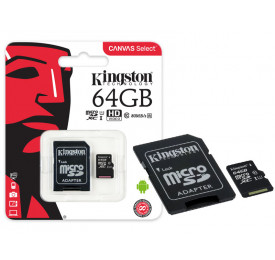 Cartão Memória KINGSTON Micro SD SDCS/64GB 64GB Canvas Select c/ Adaptador Classe 10