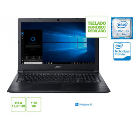 Notebook ACER A315-53-333H INTEL I3 7020U 4GB 1TB WIN10 15.6