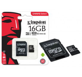 Cartão Memória KINGSTON Micro SD SDCS/16GB 16GB Canvas Select c/ Adaptador Classe 10