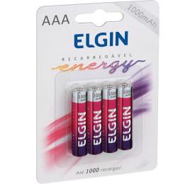 Pilhas Elgin Recarregável Energy 1000MAH AAA 1,5V c/ 4 Unidades