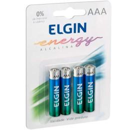 Pilhas Elgin Alcalina Energy LR03 AAA 1,5V Blister C/ 4 Unidades