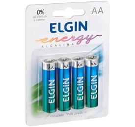 Pilhas Elgin Alcalina Energy LR6 AA 1,5V Blister C/ 4 Unidades